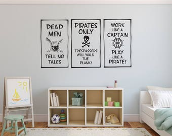 Set of 3 Pirate Decals For Nursery, Children, Home and Family Room
