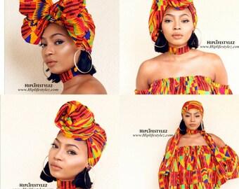 African Print colorf Kente Choker and Loop Earring Set