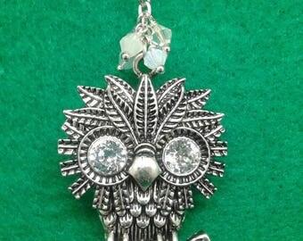 Crystal owl christmas ornament