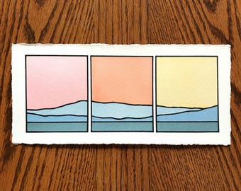 Divided landscape, Pastel Skies over the Blue Ridge Mountains