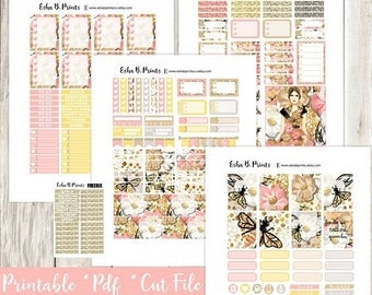 QUEEN BEE Printable Planner Stickers/Weekly Kit/For Use with Erin Condren/Cutfiles Fall September Queen Bumble  Glam Fashion Designer