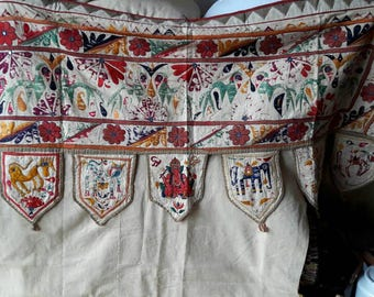 Lambrequin door decoration hand embroidered panel from India