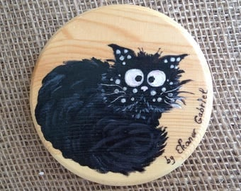 Handpainted coaster with the Pussy Cat