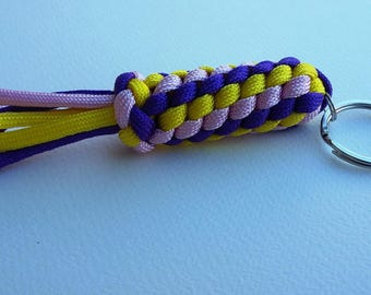 Keychain with secret compartment (pink/yellow/purple) Paracord