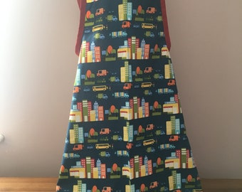 Childs crossed backed apron, cars , town , apron , cooking apron , painting apron,school apron
