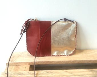 Leather Crossbody Purse Zipper Bag Gold Tan