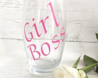 Personalised Glass, Personalised highball glass, Customised Glassware, girl boss,