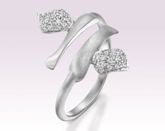 White Gold Engagement Ring, Alternative Engagement Ring, 14k White Gold Ring, Pave Diamond Ring, Open Ring, Wrap Ring, Gold and Diamond Ring