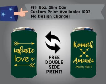 Infinite Love Name Name Date 8oz Slim Can Cooler Double Side Print Red Bull Foam Fabric Coolie (8SC-W5)