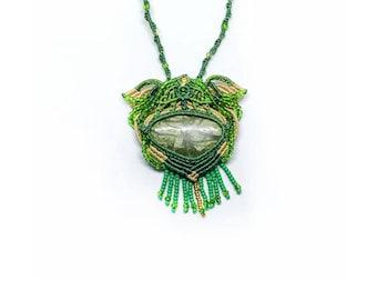 Macrame pendant, Epidote pendant, Green pendant, Nature pendant, Forest pendant, Tree pendant