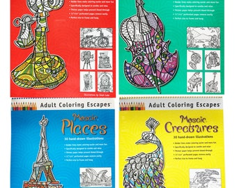 Mosaic Series of 4 Adult Coloring Books 11x14 by Tarah Luke