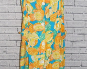 Size 20 vintage 80s strappy button front shift dress crazy fruit print (ID11)