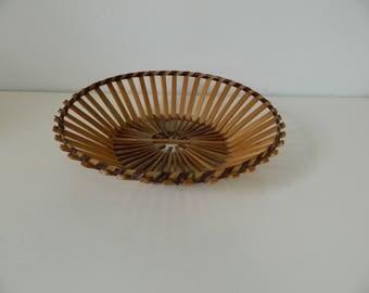 Structural Vintage Wood Slats Basket / Tray Wired