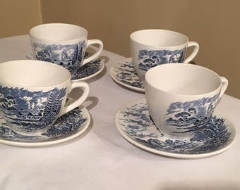 Set of 4  Blue Wedgewood Countryside Cups and Saucers