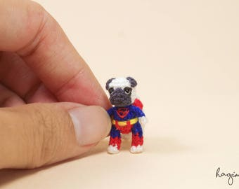 Tiny crochet Pug with super man clothes, Miniature crochet pug , micro amigurumi dog.