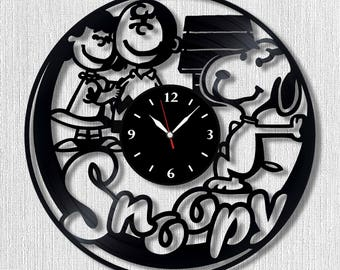 Snoopy Wall vinyl record clock, Best Gift for Decor