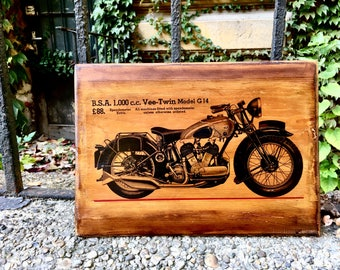 BSA 1000 ccm V-Twin engine Vintage Motorcycle Wooden Picture Home Decor