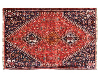 8.3' x 5.4' Shiraz Persian Rug,hand knotted oriental design antique rugs and carpets, Vintage Floor Rug, Oriental Area Rug,