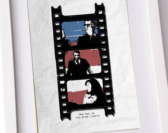 Man in the high castle poster, print. Film reel inset with the top characters and a styalised U.S. flag. Available at A3, A4 and A5