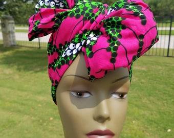 Fuchsia, green and white Headwrap