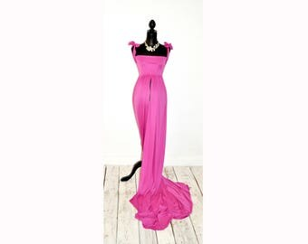 Pink maternity dress for pregnency photoshoot. Size M/L (Eur 38-40, UK 10-12, US 6-8)