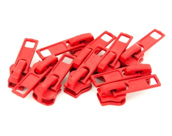 10 zipper for profile zippers, 5mm, free choice of color (color: red)