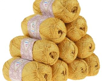 10 x 50 g crochet / Knitting yarn ALIZE FOREVER SIM, #488 saffron