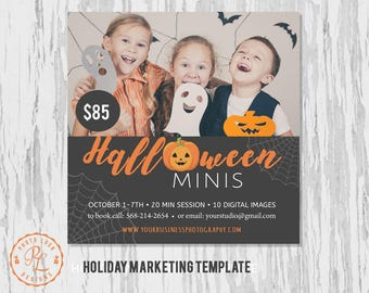 Halloween Mini Session template, Halloween Photography, Halloween Marketing, Photoshop Template, Instant Download, Fall session