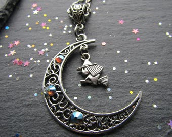 Witch and Moon Crescent Necklace, Witch Necklace, Moon Necklace, Pagan Necklace, Wicca Jewellery, Pagan jewellery, Moon Crescent, Witchy