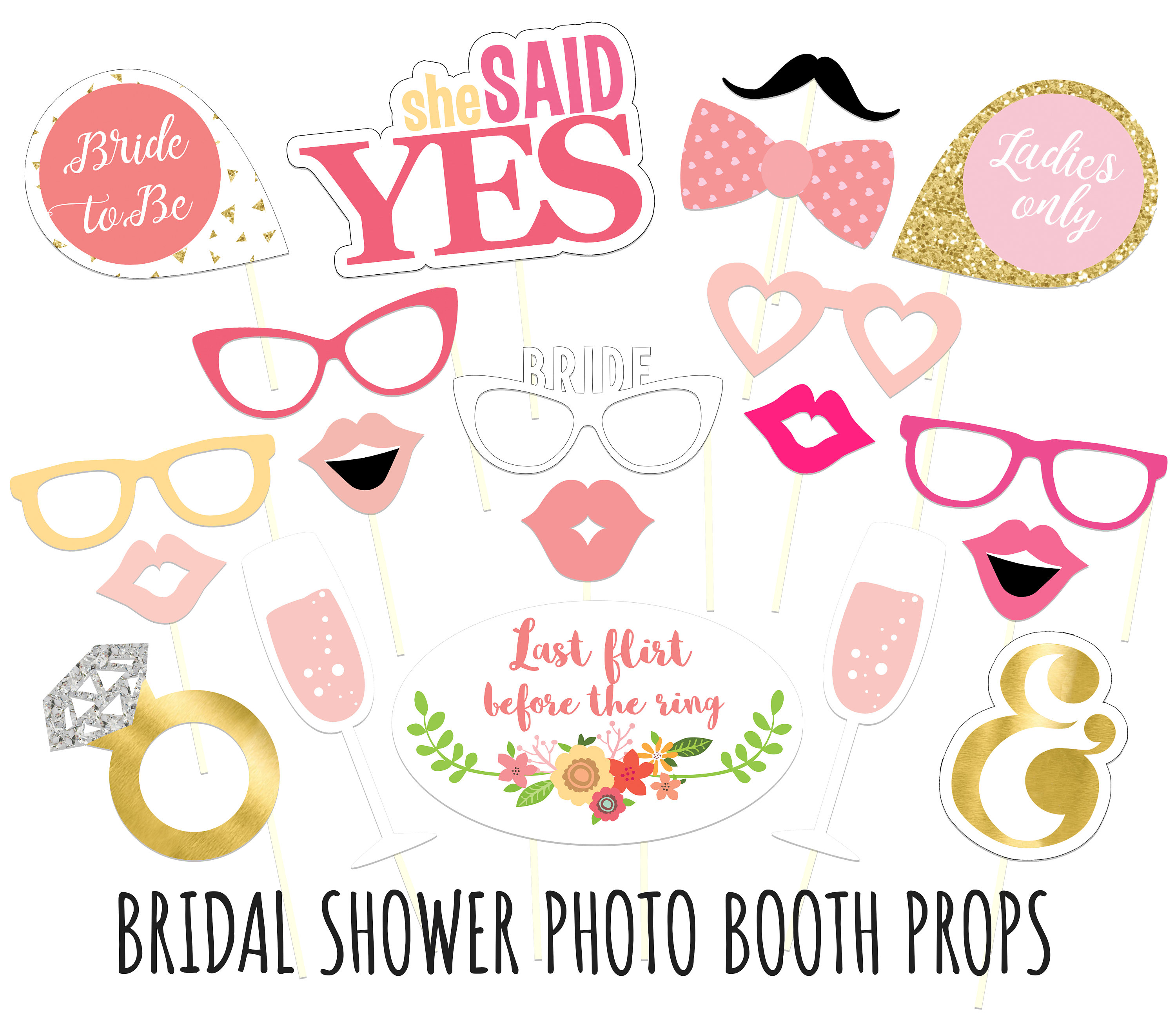 Superb image with free printable bridal shower photo booth props