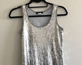 90's Sleeveless Silver Sequin Tank Dress