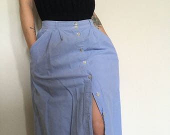 90's Faux Denim Button Up Maxi Skirt size 8 fits like size 2-4