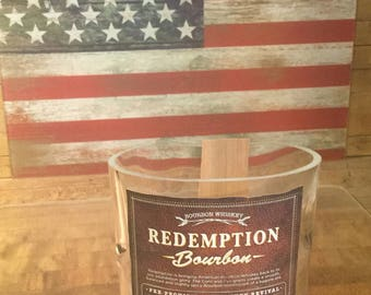 Custom Made Redemption Bourbon 750 ML Candle With Premium Wood Wick. Base Pedestal Can Be Included! Made in America. Veteran Owned Business.