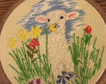 Spring is in the air, lamb in a field of wild flowers, hand embroidered, wall art, beautiful, sweet, pretty, Easter gift, nursery decor