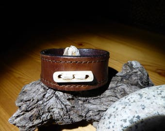 Recycled leather bracelet/cuff with bone bead