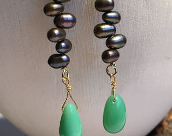 Chrysoprase and pearl earrings