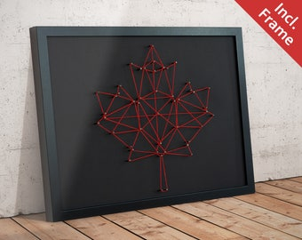 CANADA Maple Leaf - Framed WALL Silhouette 30 x 40 cm - Nails / Thread / Maple / Canada / America / Ontario / Toronto / Montreal / Quebec