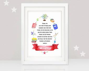 teacher print thank you teacher gift end of year teacher gift personalised teacher