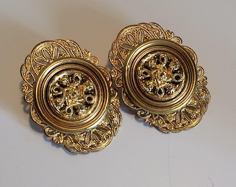 Large Chunky Lacy Gold Tone Metal Medallion Clip Earrings