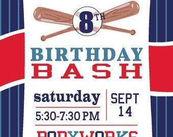 Baseball Birthday Invitation Set