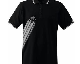 Black Iron Man Polo white piping Mister Blackwhite (Mister Iron)