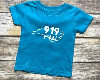 919 Y'all Shirt, NC local shirt, Raleigh NC shirt, Durham NC shirt, Chapel Hill shirt, North Carolina Shirt, Area Code Shirt, North Carolina