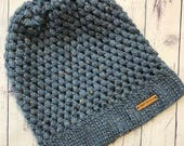 Adult Slouch Beanie Hat  BlueGrey Beanie Hat  Womens Woolly Hat  Mens Woolly Hat  Slouch Beanie Hat  Crochet Hat