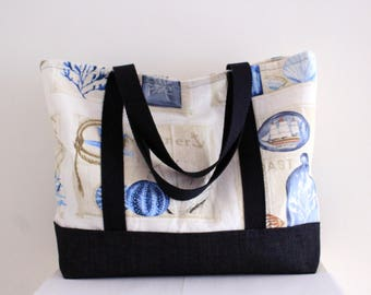 Patterns of the sea and summer beach bag