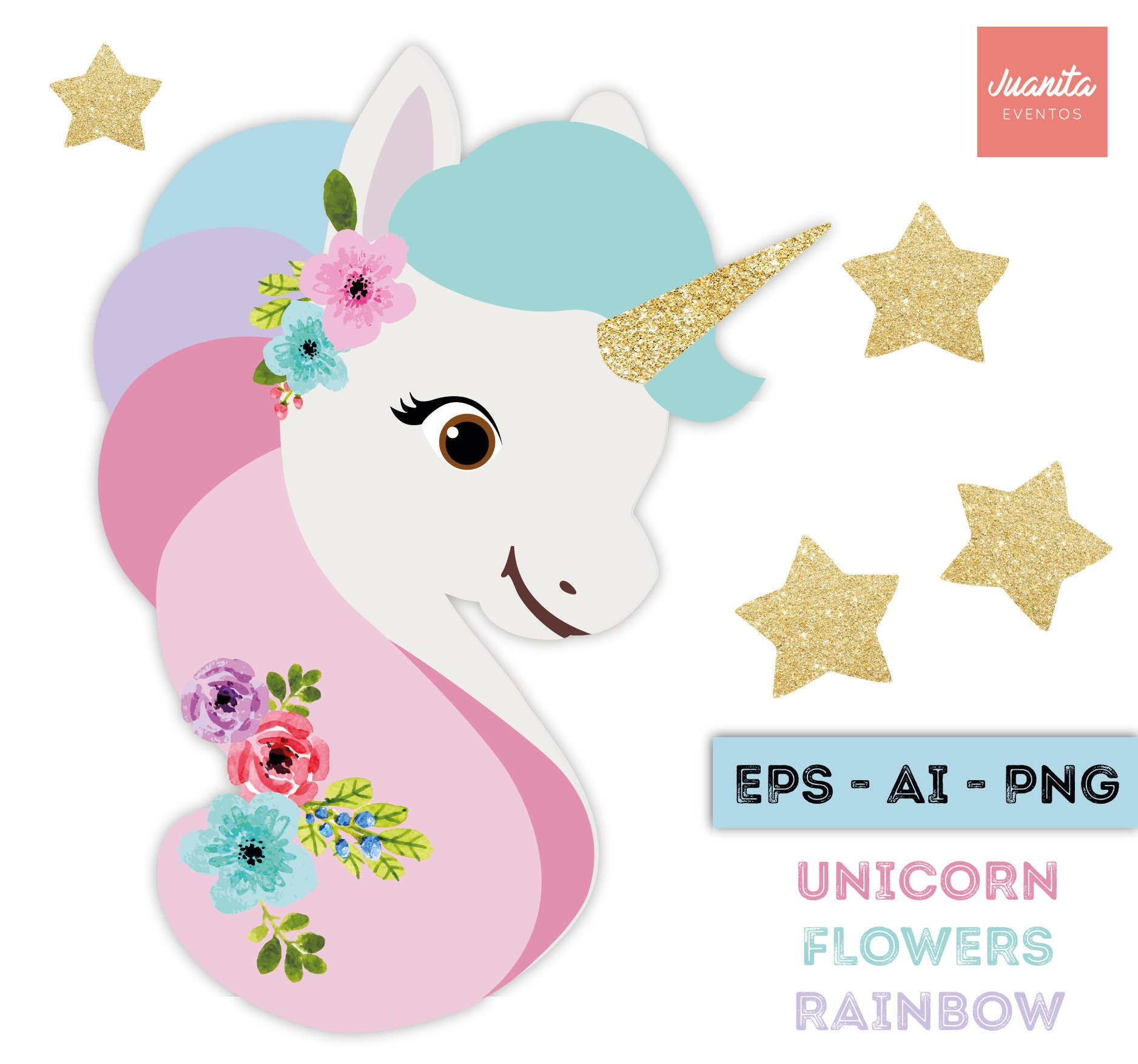 Unicorn clipart with Golden Horn and flowers watercolor PNG