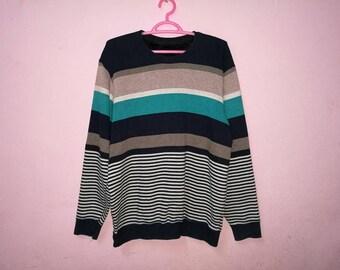 Rare!! Striped Fashion Stlye Pullover Jumper Sweatshirt