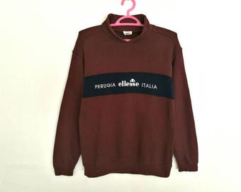 Rare!! Vintage Ellesse Perugia Italia Spellout Embroidery Pullover Jumper Sweatshirt