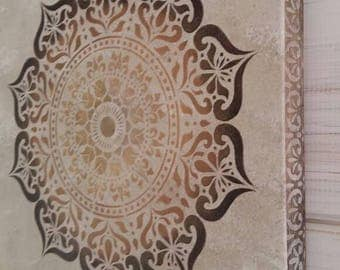 Moroccan Art, Indian decor, bohemian picture, browns and golds, mandala