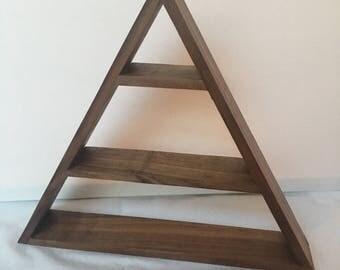Walnut triangle pyramid shelf freestanding