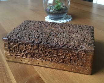 Carved wooden box fabric lined